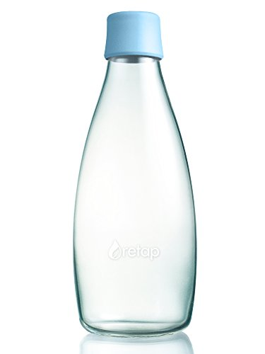 Wiederverwendbare Wasserflasche mit Verschluss - 0,8 Liter, Farbe:Babyblau