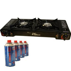 Double Hob Camping Stove Cooker Dual Burner with 4 Gas