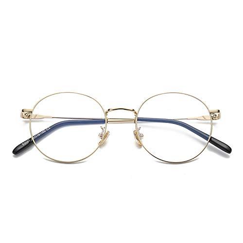 YMTP Frauen Männer Grad Brille Rahmen Vintage Runde Gläser Mit Transparenten Gläsern Edelstahl Brillenfassungen Für Frauen, Gold