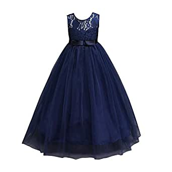 2c9fd06bf amazingdeal Sleeveless Mesh Kids Long Dress Girl Lace Tulle Ball Gown  Pageant Costume (Dark Blue 11-12T: Amazon.in: Clothing & Accessories