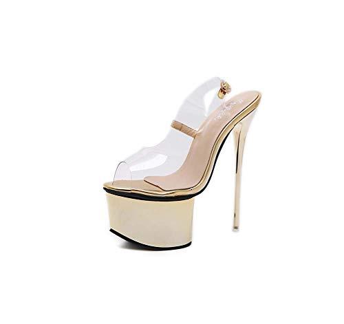 GHFJDO Damen Stripper Schuhe Sandale, Mit Knöchelriemen Plateaufersen, Klar High Heels Für Damen,Gold,39EU