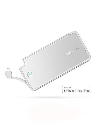 Luxtude PowerEasy 5000mAh Ultra dünn Powerbank für iPhone, Apple Zertifiziert Power Bank mit Integriertem Lightning Kabel, Externer Akku für iPhone XS Max/XR/XS/X / 8/8 Plus / 7 / 6s / 6 Plus