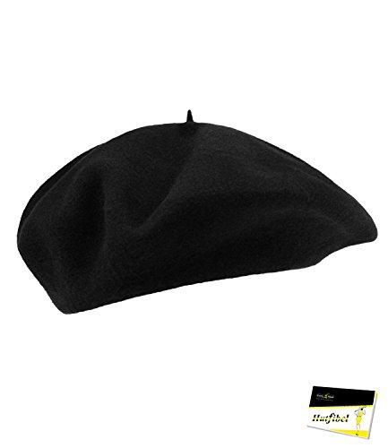 Fiebig Herrenbaske Baske Baskenmütze Herbstmütze Wintermütze Franzosenmütze Künstlermütze Mütze einfarbig für Männer (FI-40101-W16-HE0-18-60) in Schwarz, Größe 60 inkl. (Kostüm Schnee Mädchen Frostige)