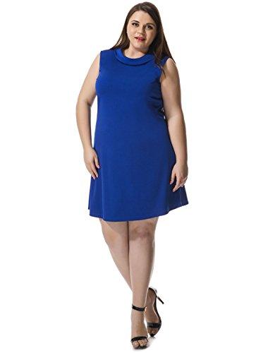Agnes Orinda Femmes grande taille robe sans manches avec col boutonné Tour blue