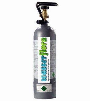 WFW wasserflora 2 kg CO2 Depot-Flasche, gefüllte Mehrweg-Kohlensäure-Druckgasflasche/Stahlflasche, extrem kompakte Bauform, Flaschendurchmesser ca. 12 cm, Höhe nur ca. 45 cm