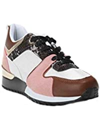 a2c96ab67278b5 HERIXO Damen Schuhe Sneakers Fitness Sportschuhe Freizeitschuhe farbige Leo  Leoparden Muster Schlangen Print Silber Golden Glänzend…