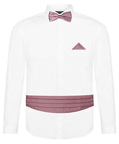 CRIXUS Herren Hemd Slim Fit Manschettenhemd + Kummerbund Set in Altrosa - 5 teilig - Anzug Schärpe (L - Kragenweite: 41/42)