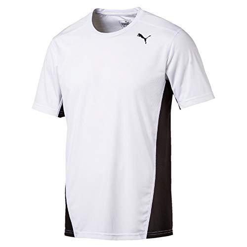 Puma cross the line tee, maglietta unisex-adulto, bianco white black, m