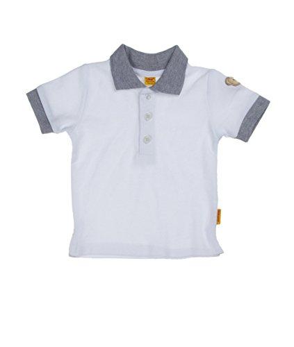 Steiff Baby - Jungen Poloshirt 1/4 Arm 6512971, Einfarbig, Gr. 56, Weiß (Bright White White 1000)