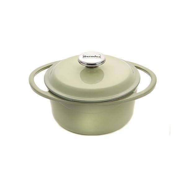Berndes 1504101 Round Casserole Dish with Lid, 20cm, 2.4 Litre, Cast Iron, Green 31Kst AH9SL