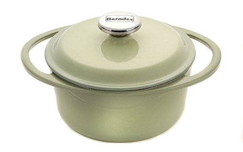 Berndes 1504101 Round Casserole Dish with Lid, 20cm, 2.4 Litre, Cast Iron, Green