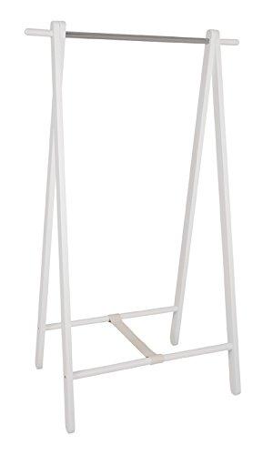 Standgarderobe in weiß-chrom aus Massivholz; Maße: 88x50x152 cm