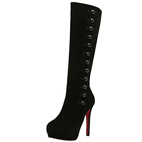 Oasap Women's Elegant Solid Button Decoration High Heel Thigh Boots (Black) (6 UK / 39 EU / 8 US)