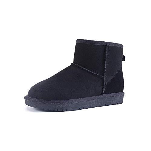 FF Schneeschuhe Weibliche Kurze Stiefel Warme Baumwolle Schuhe Student Verdicken Plus SAMT Echtem Leder Rindsleder Flache Rutschfeste damenstiefel (Farbe : Schwarz, Size : EU39/UK6.5/CN40)