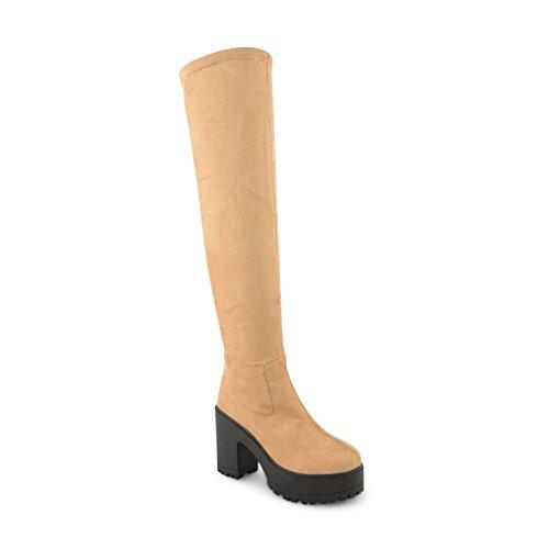 Footwear Sensation ,  Damen Overknee-Stiefel Light Tan Suede