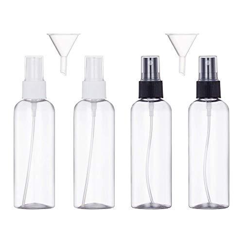 4×100ml Sprühflasche Transparente Leer Feinen Nebel Sprühflasche Reise - Plastik Parfümzerstäuber Leer Sprühflasche-Zerstäuber Flaschen