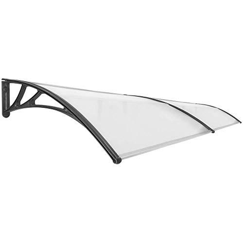 Primematik - pensilina tettoia in policarbonato per porta o finestra per esterno nero 300x100cm