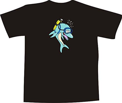 T-Shirt E1274 Schönes T-Shirt mit farbigem Brustaufdruck - Logo / Grafik / Design - Delfin mit Taucherbrille und Sauerstoff Flasche im Meer Weiß