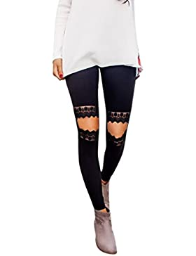 Nuevo!! Mallas Deportivas Mujer Encaje Yoga Leggins Yoga Pantalon Elastico Cintura Altura Polainas para Running...