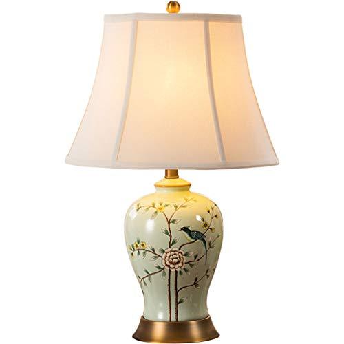 Lampe de table F Lampe De Table En Céramique Cuivre E27 Douille De Lampe En Fil De Cuivre Dessin Base Nouveau Chinois Rétro Salon Chambre Lampe De Chevet