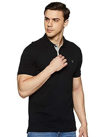 Van Heusen Athleisure Men's Solid Regular Fit Polo (60033_Black S)