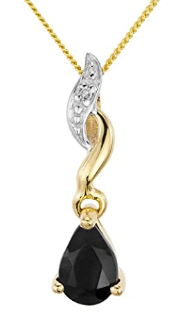 Ornami Glamour 9ct Yellow Gold Sapphire and Diamond accent teardrop Pendant on 46cm Chain