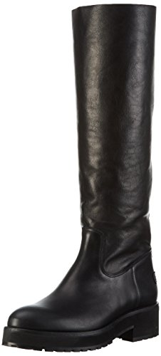 Shabbies AmsterdamShabbies 45cm highboot New Poro sole Pointy Lois - Stivali alti antiscivolo Donna, Nero, 38 EU