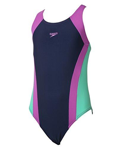 Speedo ragazza Contrasto Pannello Splashback Swimsuit, ragazza, Contrast Panel Splashback, Navy/Orchid/Green Glow, Taglia 28