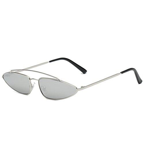 LBY Cat Eye Sonnenbrille Metallrahmen Flugzeug Spiegel Persönlichkeit Kleine Box Geformte Sonnenbrille Sonnenbrille für Damen (Farbe : Silver Frame+Silver Lens)