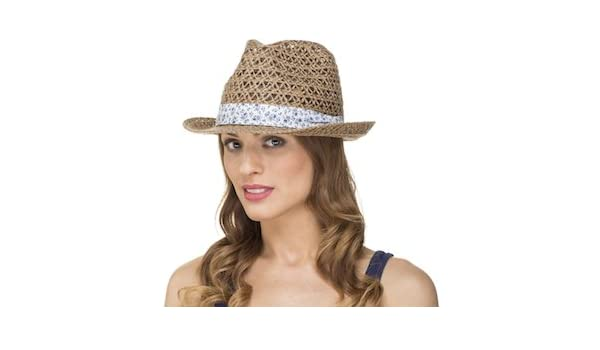 f6d07fd042c464 Ladies Womens Spring Summer Open Weave Trilby Sun Hat LS14009:  Amazon.co.uk: Clothing