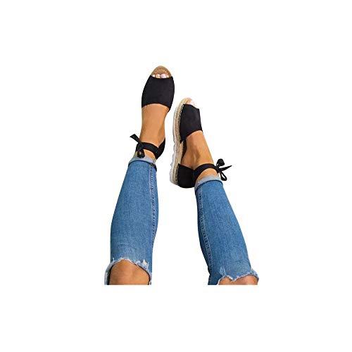 Damen Espadrilles Plateau mit Bändern zum Schnüren Sommer Peep Toe Sandalen Strandschuhe Schöne Sommerschuhe Elegante Sandaletten Celucke (Schwarz, EU39) -