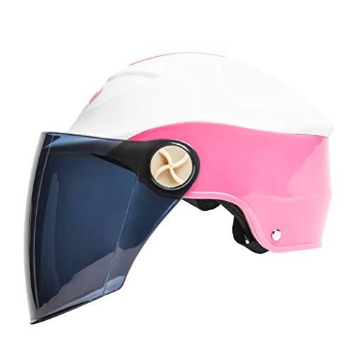 Yunyisujiao Elektrischer Motorradhelm, Unisex-Regen- und UV-Schutzhelm, braune Linse (Color : PINK, Size : 23X32CM)