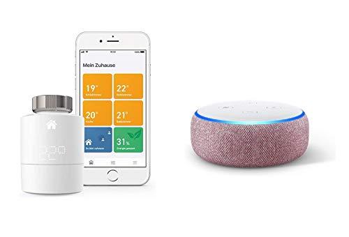 Angebot: Tado Smartes Heizkörper-Thermostat Starter Kit V3+ (Intelligente Heizungssteuerung, kompatibel mit Amazon Alexa, IFTTT) + Echo Dot (3. Gen.) Intelligenter Lautsprecher mit Alexa, Lila Stoff für nur 131,90 € statt bisher 189,98 € auf Amazon