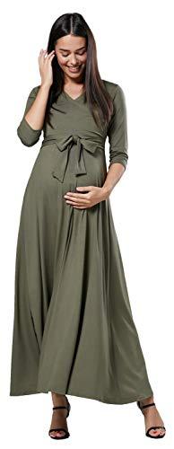 Happy mama. donna maxi vestito prémaman per l'allattamento. maniche 3/4. 608p (cachi, it 48, 2xl)