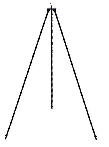 Gartenstuhl-Kissen Schwarzes Dreibeingestell mit Kette für Das aufhängen der Gulaschkessel und...