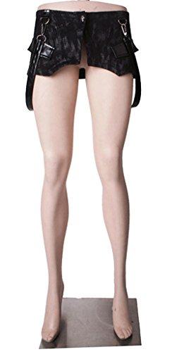 Bordo superiore dei pantaloni con cintura Q-186 punk rave nero Large