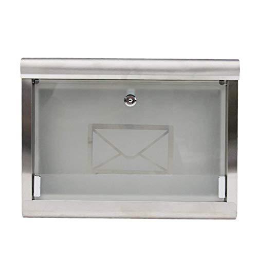 Royala Wasserdichte Briefkasten Edelstahl Briefkasten mit 2 Schlüsseln Enthalten Glas Briefkasten Für Garten Im Freien