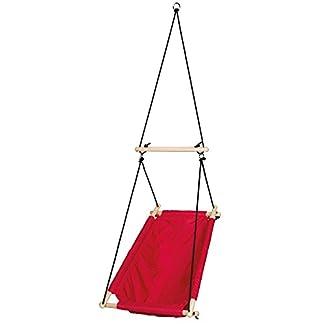 Asiento colgador en loneta rojo, columpio hamaca y asiento para bebes y niños, utilizable desde el nacimiento hasta los 6 años o 30kg