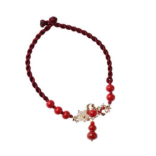 LIUHUIJUN Alter Wind-Fußketten-Kürbis-Retro- Fußseil-Paar-Fußketten-weibliches Rotes Seil Sexy #6
