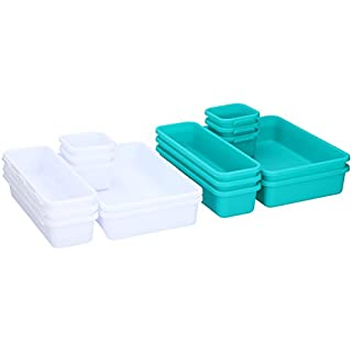 Set of 8 Plastic Drawer Office Desk Kitchen Bathroom Organiser Tidy Box Boxes in Choice of Colours (Turquoise)