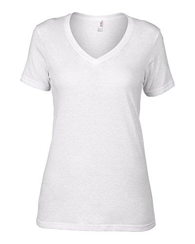 Enclume AV123 Voilage coton pour femme avec col en V Blanc - Blanc