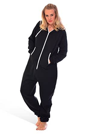 Unisex Hooded Zip Onesie Black M
