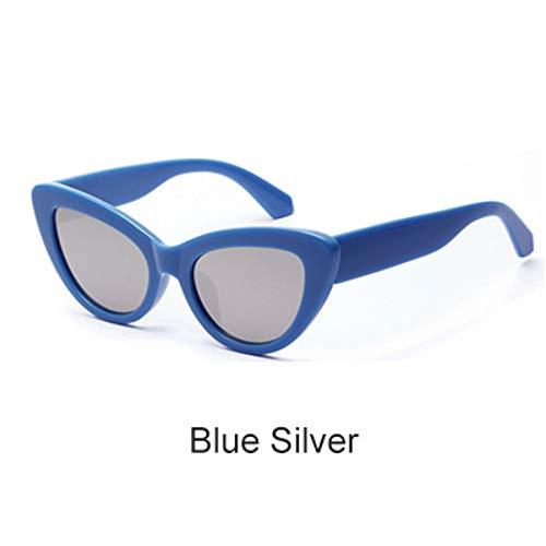 ZHOUYF Sonnenbrille Fahrerbrille Retro Cat Eye Sonnenbrille Frauen Blau Verspiegelte Acetat Sonnenbrille Uv400 Vintage Sunnies Female Shades, C.