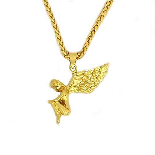 YDMSGSB Anhänger Halskette Engel Gold Flügel Hip Hop Galvanik Fee Geschenk Schmuck