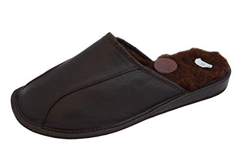 Natur Rindsleder und Schafwolle schwarz braun Herren Slipper Schuhe Mule Braun