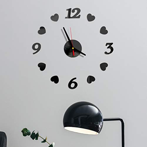 OGGID 3D DIY Reloj Moderno Espejos sin Marco con Números y Corazon, Reloj de Pared Adhesivo de Movimiento...
