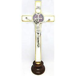 10.268.21Bi Croix de San Benedetto or sur base bois 20cm Blanc émaillé à la main avec médaille et boîte et preghierea 3langues