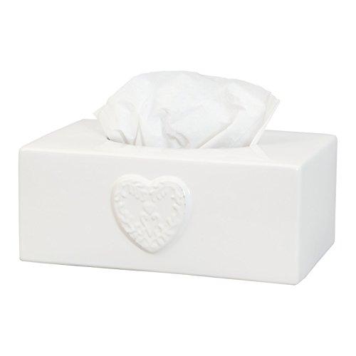 Weiß Herz Keramik Tissue Box Holder Cover Aufbewahrung (Keramik Tissue Box Cover)