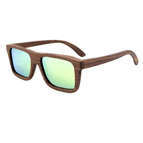 Honneury Herren Square Sport Holz Sonnenbrille, Vollholzrahmen, polarisiert (Farbe : Green)
