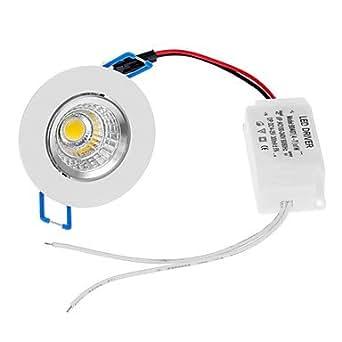 acheter ZY-COB05-TH05 5W 450LM 3000K COB LED lumière blanche chaude Ceiling Lights-Argent + Blanc + Bleu (85-265V)